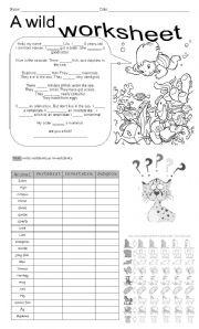 English Worksheets: A Wlid Worksheet