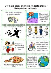 English Worksheets: Conversation Cards 8 of 8