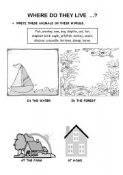 English Worksheets: Where do they live?