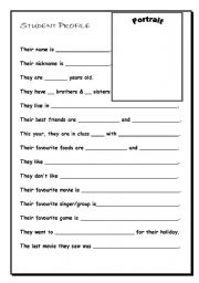 Student Profile - ESL worksheet by matchiro