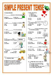 Worksheets verbs verb tenses present tense simple present tense test