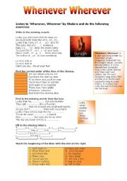 English Worksheet: Whenever Wherever by Shakira
