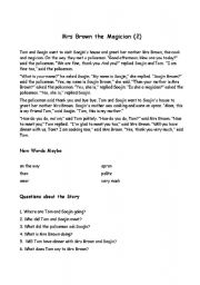 English Worksheets: Mrs Brown the Magician 2