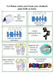 English Worksheet: Truth or Dare: Dare Cards 4