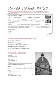 English Worksheet: Peter visits Italy (verb to be - there is / are)