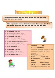 English Worksheet: possessive pronouns and possessive adjectives