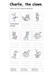 English Worksheets: Charlie, the clown