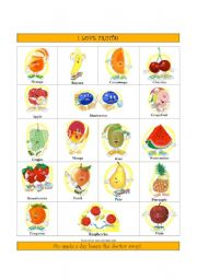 English worksheets: Fruits Dictionary