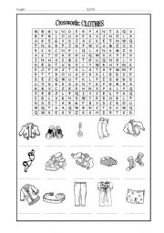 English Worksheet: Crosswords: Clothes