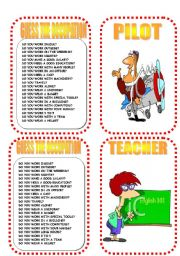 English Worksheets: CARD FOUR OCCUPATION GAME