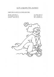 English Worksheets: LET�S PAINT THE CLOWN!