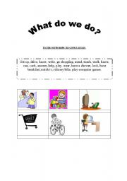 English Worksheets: What do we do?