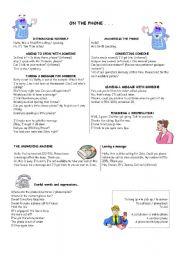 English Worksheet: On the phone...
