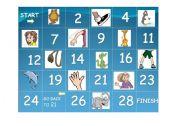 English Worksheet: body parts, animals, board game