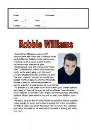 English Worksheets: Robbie Williams