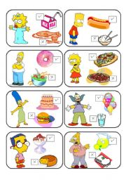 English Worksheet: SIMPSONS MEMORY CARDS LIKE /DON�T LIKE 1/2