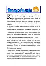 English Worksheets: The Cost Of A Smile