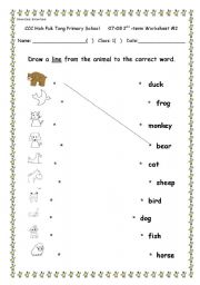 English Worksheet: Brown bear, brown bear.  Simple picutre and word matching.