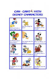 English Worksheet: can can�t with disney characters I