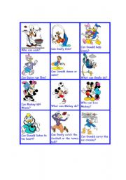 English Worksheet: can can�t with disney characters II