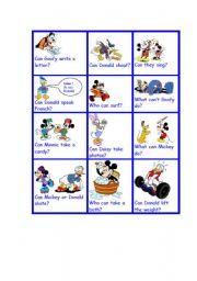 English Worksheet: can can�t with disney characters last one