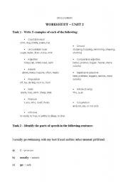 English Worksheets: Worksheet for Parts of Speech (with sample answers)