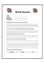 Perfect English Worksheet: Book Review Form  Printable Book Review Template