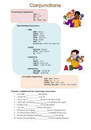 English Worksheets: Conjunctions Worksheet