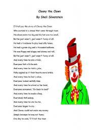 English worksheet: Cloony the clown