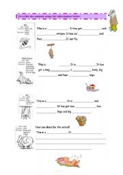 English Worksheets: Describing Animals