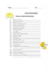 English worksheet: correct the mistakes