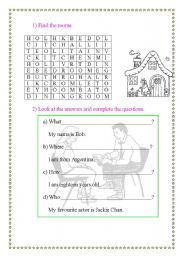 English Worksheets: Find the rooms and answer the questions