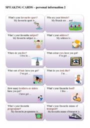 English Worksheet: SPEAKING CARDS - personal questions 2