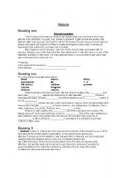 English worksheet: MALARIA