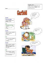 English Worksheet: A day in Garfield´s life