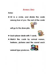 English Worksheets: Animal Uno