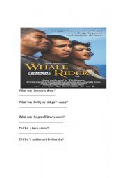 English Worksheet: Whale Rider