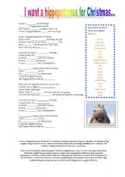 I Want A Hippopotamus For Christmas Lyrics.I Want A Hippopotamus For Christmas Esl Worksheet By Atd46