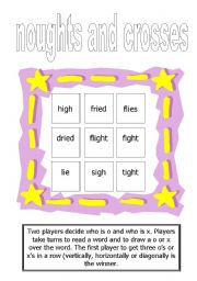 English Worksheet: Tic-Tac-Toe for �igh� words