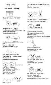 English Worksheets:  Story Telling  Mr Wilson�s pet shop