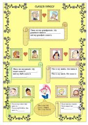 English Worksheet: CLAIRE�S FAMILY TREE