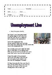 English Worksheet: Unemployment Line