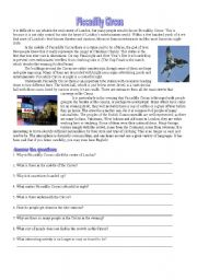 English Worksheet: Piccadilly Circus
