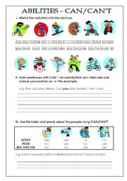 English Worksheet: ABILITIES - CAN/CAN�T
