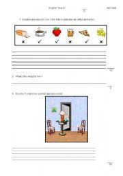 English worksheet: test 2