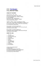 English Worksheet: Song: Eternal Flame The Bangles