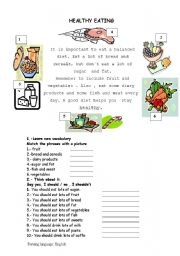 English Worksheet: Reading: healthy food