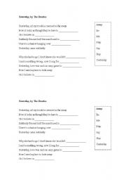 How to write a song worksheet-yesterday