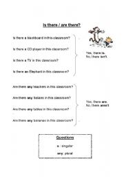 English Worksheets: is there / are there questions