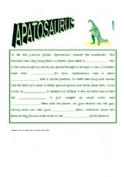 English Worksheets: Apatosaurus Closure